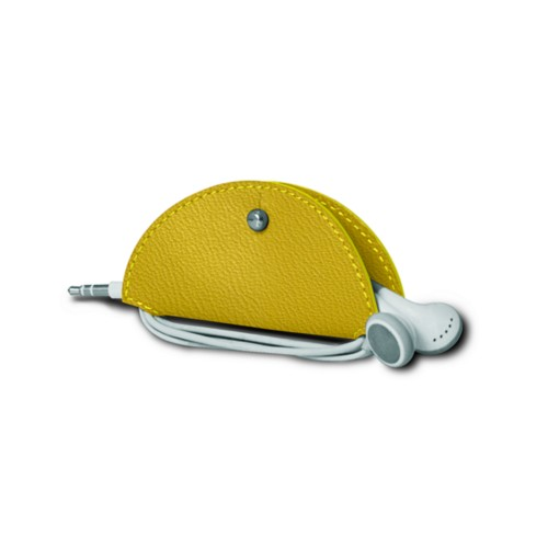 Earbud holder - Lemon Yellow - Goat Leather