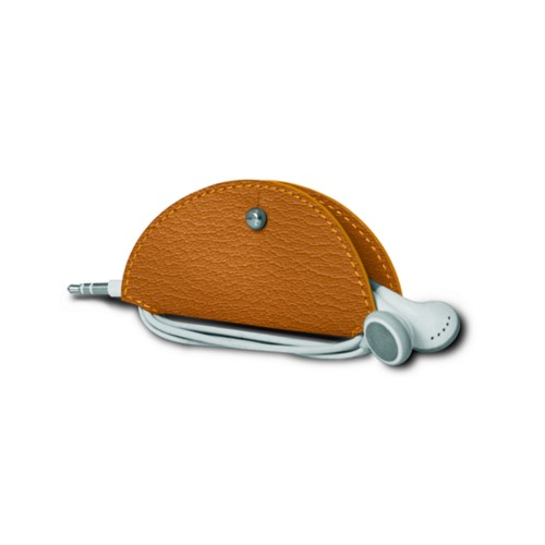 Earbud holder - Saffron - Goat Leather