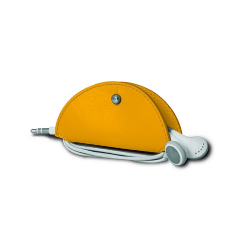 Earbud holder - Sun Yellow - Smooth Leather