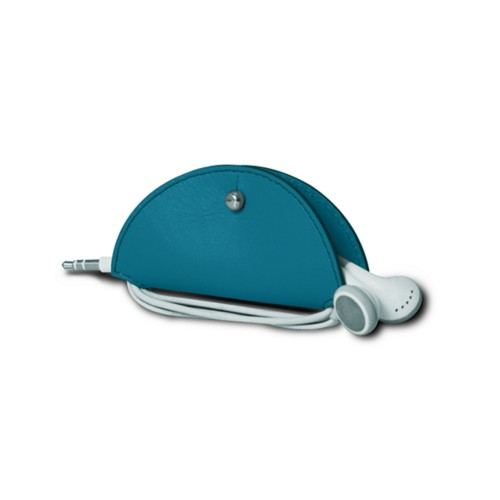 Earbud holder - Turquoise - Smooth Leather