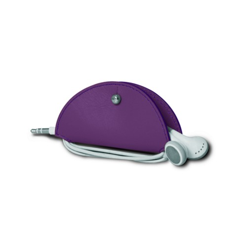 Earbud holder - Lavender - Smooth Leather
