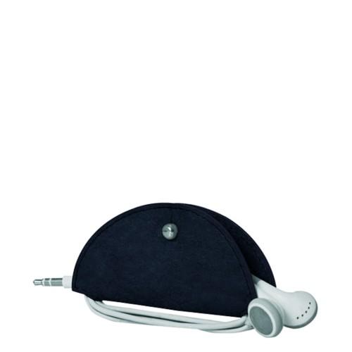 Range-câble et écouteurs - Bleu Marine - Cuir végétal