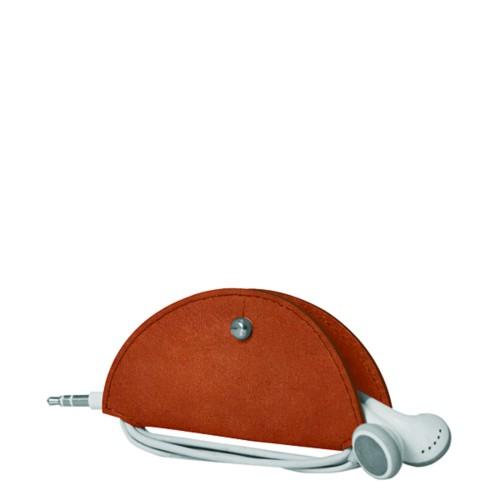 Range-câble et écouteurs - Cognac - Cuir végétal