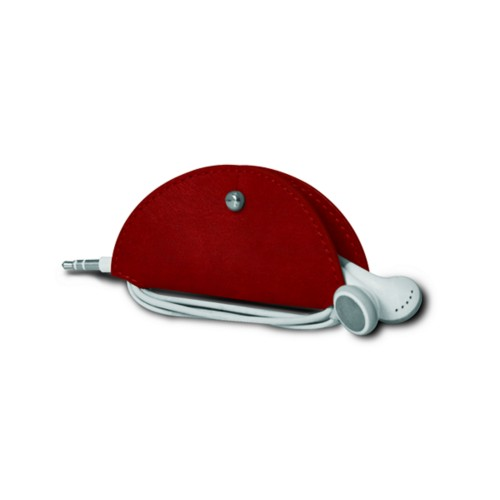 Earbud holder - Carmine - Vegetable Tanned Leather