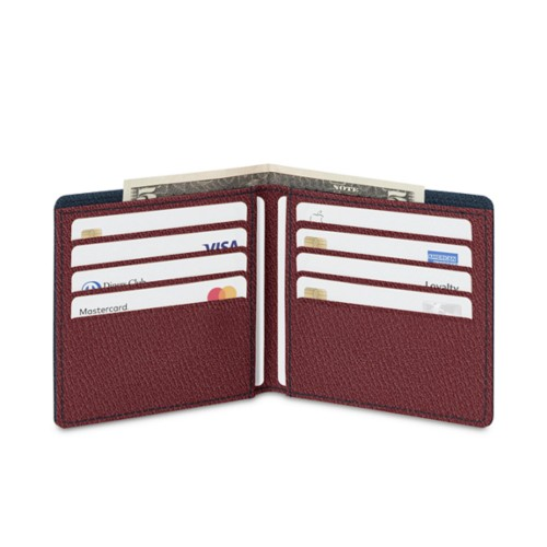 Classic wallet - Navy Blue-Burgundy - Goat Leather