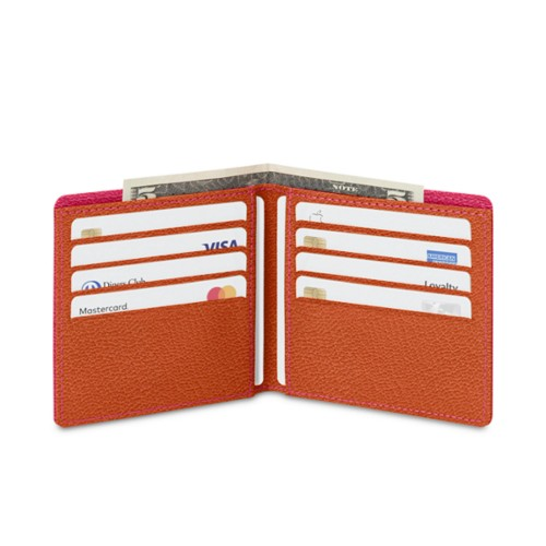 Classic wallet - Fuchsia-Orange - Goat Leather