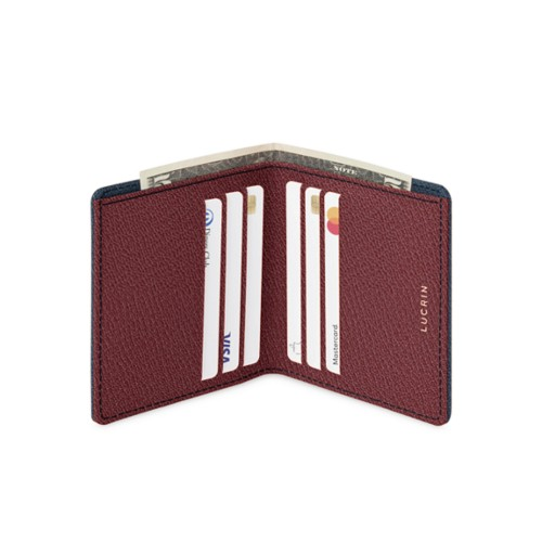 Slim wallet - Navy Blue-Burgundy - Goat Leather
