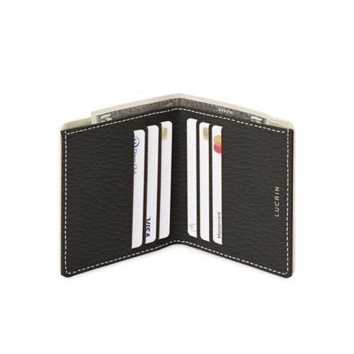 Etui für Kreditkarten und Geldscheine - Gebrochen Weiß-Mausgrau - Ziegenleder