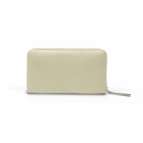 Zip around wallet - Off-White-Mouse-Grey - Goat Leather