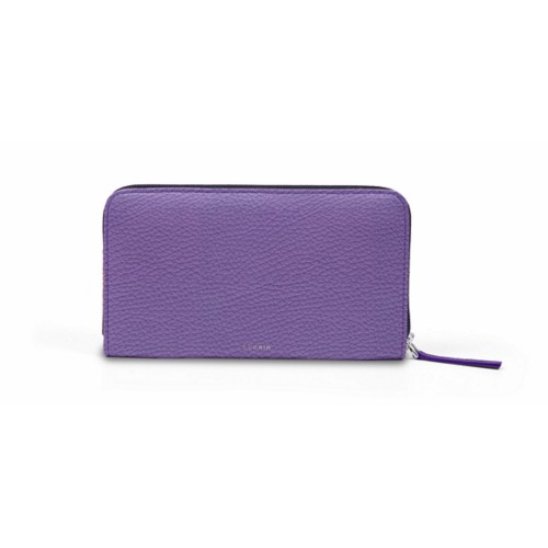 Zip around wallet - Lavender - Granulated Leather