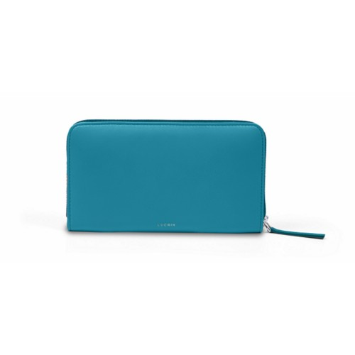 Zip around wallet - Turquoise - Smooth Leather