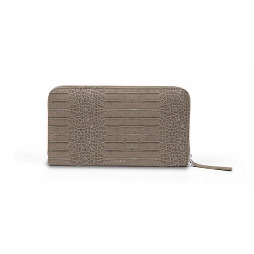 Zip around wallet - Light Taupe - Crocodile style calfskin
