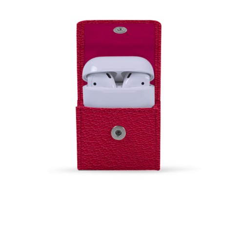 AirPods-Etui - Fuchsia-Orange - Ziegenleder