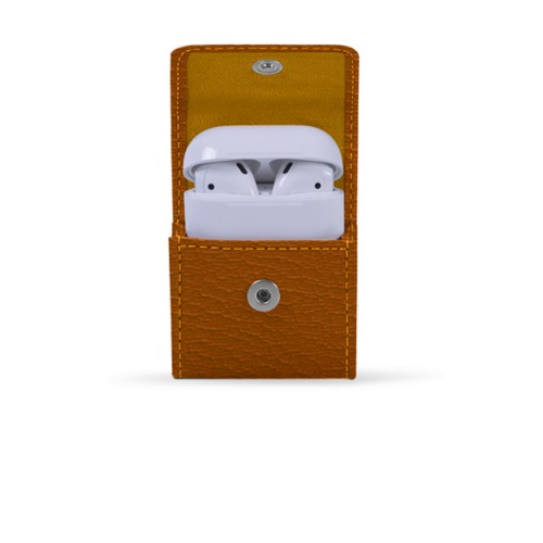 AirPods case - Saffron-Light Taupe - Goat Leather