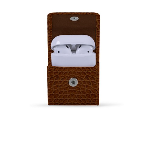AirPods case - Camel - Crocodile style calfskin