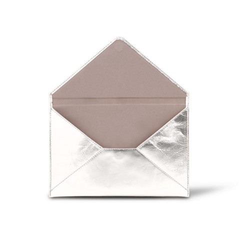 Medium envelope - Silver - Metallic Leather