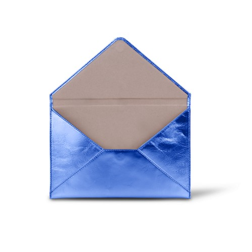 Medium envelop - Koningsblauw - Metallic Leer
