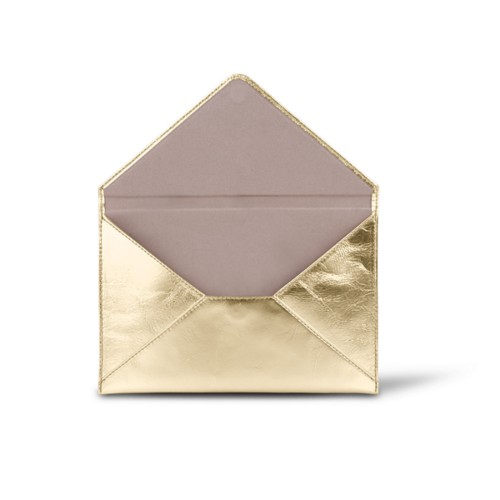 Medium envelope - Golden - Metallic Leather