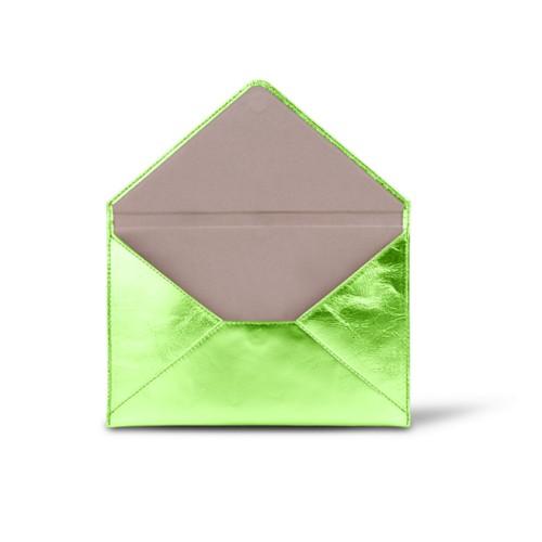中判 封筒型ケース - Light Green - Metallic Leather