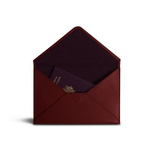 中判 封筒型ケース - Burgundy - Smooth Leather