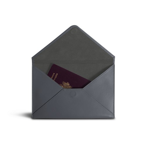 Medium envelope - Mouse-Grey - Smooth Leather