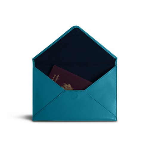 Medium envelope - Turquoise - Smooth Leather