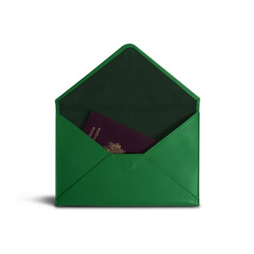 中判 封筒型ケース - Light Green - Smooth Leather