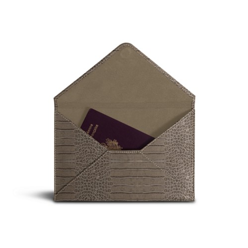 Medium envelope - Light Taupe - Crocodile style calfskin