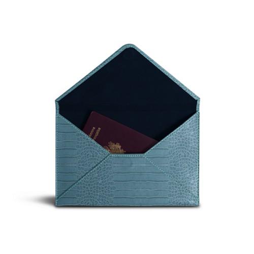Medium envelope - Turquoise - Crocodile style calfskin