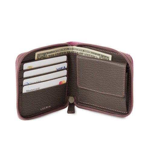 Zipped wallet for men - Pink-Dark Taupe - Goat Leather