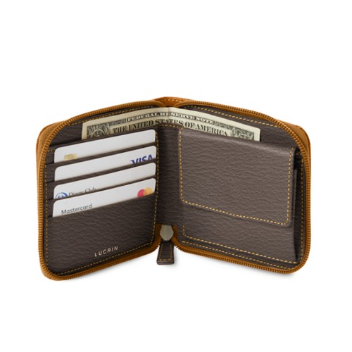 Zipped wallet for men - Saffron-Dark Taupe - Goat Leather