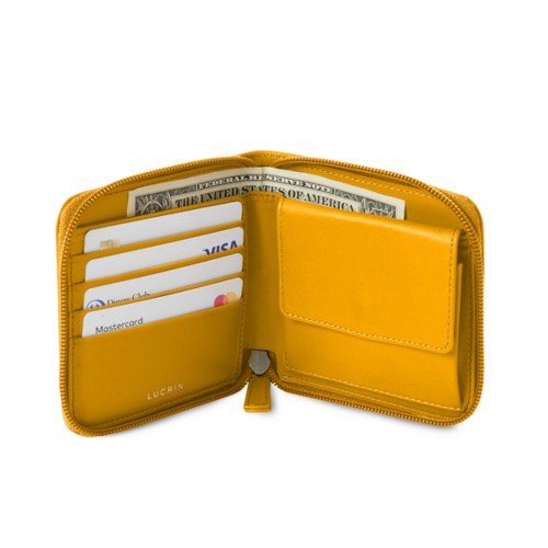 Zipped wallet for men - Sun Yellow - Smooth Leather
