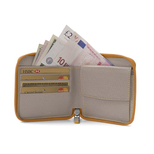 Zipped bicolor wallet for men