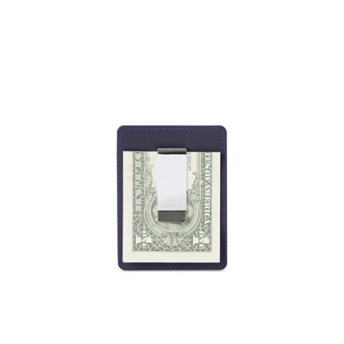 Money Clip Wallet - Purple - Smooth Leather