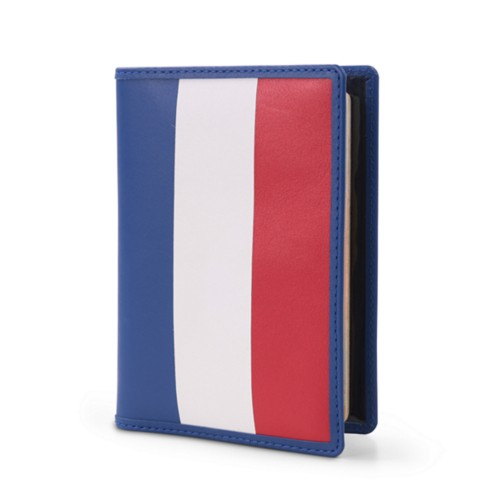 French Passport Holder - Flag - Smooth Leather