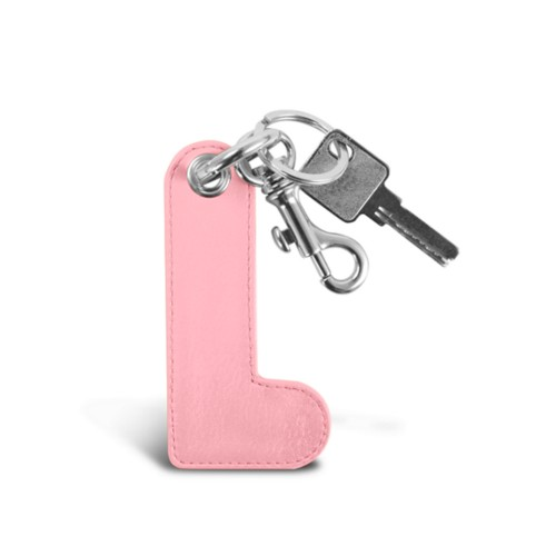 L Keychain - Pink - Smooth Leather