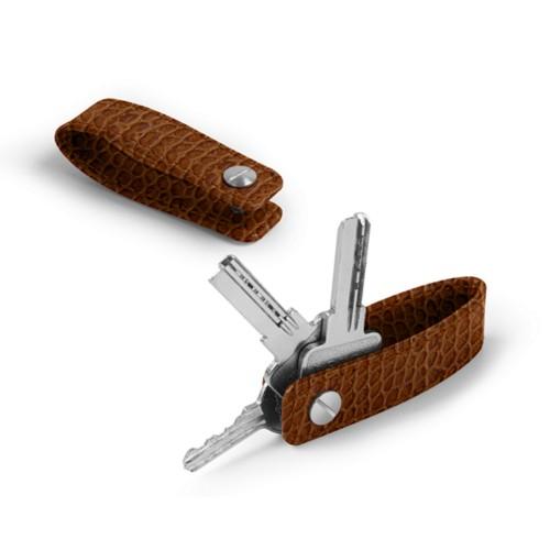 Keychain - Camel - Crocodile style calfskin