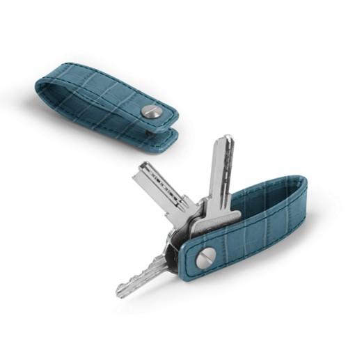 Schlüsselanhänger - Türkisblau - Leder in Krokodil- Optik