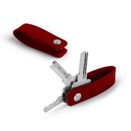 Porte clés vis - Carmin - Cuir végétal