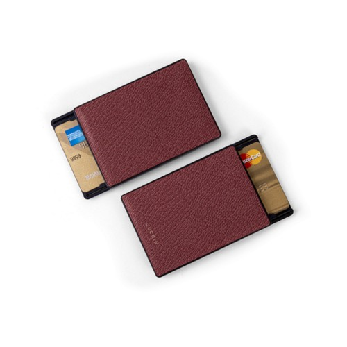 RFID Blocking Cards Holder - 6 - Burgundy - Goat Leather
