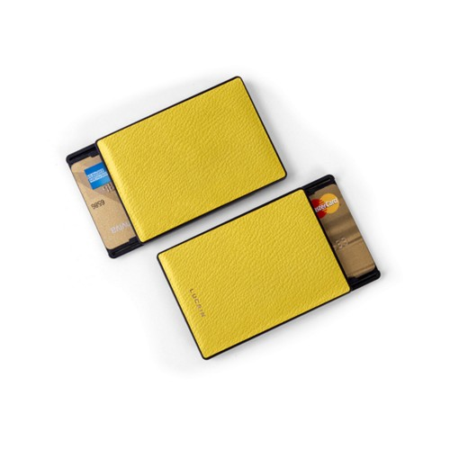 RFID Blocking Cards Holder - 2 - Lemon Yellow - Goat Leather
