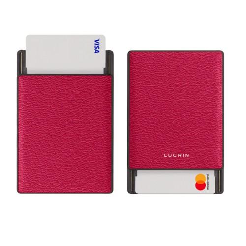 RFID Blocking Cards Holder - 2 - Fuchsia  - Goat Leather