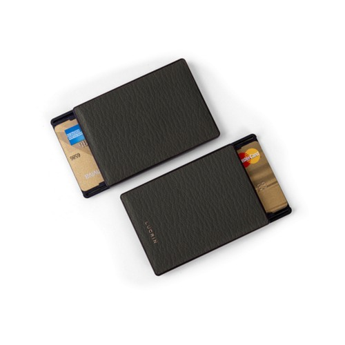 RFID Blocking Cards Holder - 2 - Mouse-Grey - Goat Leather