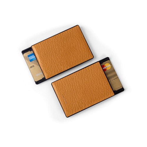 RFID Blocking Cards Holder - 2 - Saffron - Goat Leather