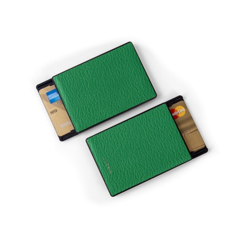 RFID Blocking Cards Holder - 2 - Light Green - Goat Leather