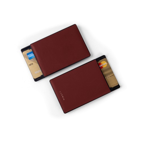 RFID Blocking Cards Holder - 2 - Burgundy - Smooth Leather