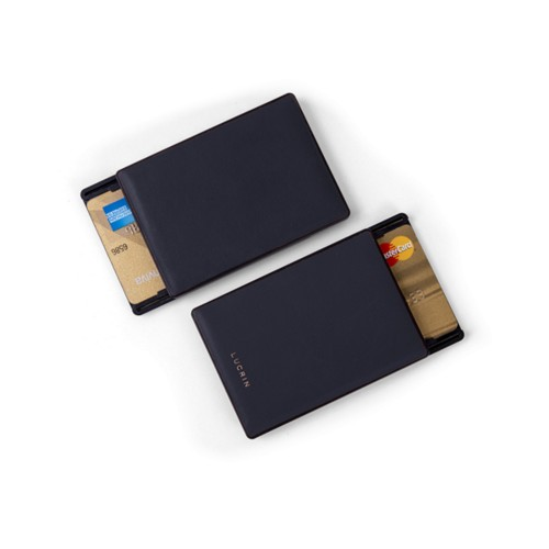 RFID Blocking Cards Holder - 6 - Navy Blue - Smooth Leather