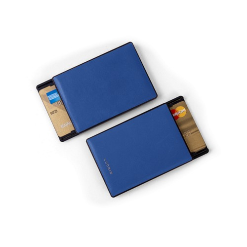 RFID Blocking Cards Holder - 2 - Royal Blue - Smooth Leather