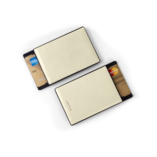 RFID Blocking Cards Holder - 2 - Off-White - Smooth Leather