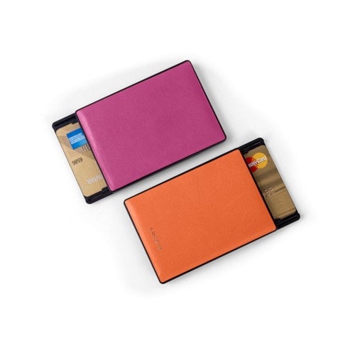RFID Blocking Cards Holder - 2 - Fuchsia-Orange - Smooth Leather